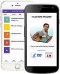 Image of cell phones with CDC's Milestones Tracker App open on the screen